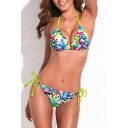Graffiti Print String Tie Side Triangle Bikini Set