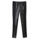 Black Patent PU Trim Skinny  Crop Pants