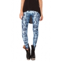 Wathet Blue Simple Ocean Creatures Print Elastic Leggings