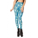 Blue Machine With Square Smiling Face Pattern Elastic Leggings