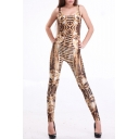 Akhnaton Pharaoh Pattern Sleeveless Scoop Neck Jumpsuits