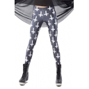 Dark Gray Long Elastic Leggings in White Cross Print