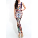 God and Holy Virgin Pattern Sleeveless Scoop Neck Jumpsuits
