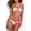 Floral Print V-wire Tie Back Bandeau Bikini Set