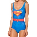 Blue Superman Logo Print One Piece Swimsuit