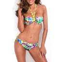 Jeweled Strap Bandeau Bikini Set in Graffiti Print