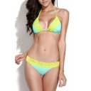 High Elastic Lace Trim Triangle Bikini Set