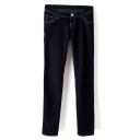 Black Concise Elastic Female Jeans with Embroidery on Rear Pockets