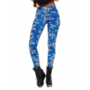 Blue Cartoon Collection Pattern Eye-Catching Elastic Leggings