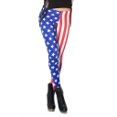 Stars and Stripes Print Full Length Elastic Leggings