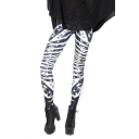 Dark-gray Long Elastic Leggings with Mixed Skeleton Print