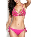 Fuchsia Tie Back Bikini Set with Two-tone 3D Flowers