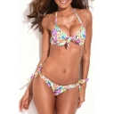 Tie Front Push-up Bikini Set in Tropical Floral Print