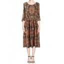 Retro Print 3/4 Sleeve Gathered Waist Midi Dress