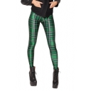 Green Plaid Print Full Length Elastic Leggings