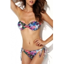 Tropical Floral Print Tie Back Bandeau Bikini Set