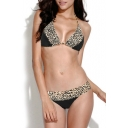 Black Leopard Print Braided Strap Triangle Bikini Set