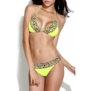 Yellow Leopard Print Braided Strap Bikini Set