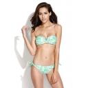 Zebra Print V-wire Bandeau Tie Back Bikini Set