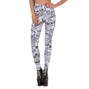 Special Design Megazine Graphic Print White Elastic Leggings