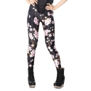 Black Elastic Leggings in Pink Peach-flower Overlay