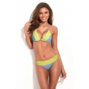 Zig Zag Print Lace Trim Ruched Detail Bikini Set