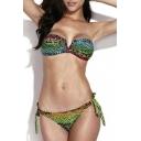Snakeskin Print V-wire Tie Back Bandeau Bikini Set