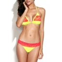 Yellow Contrast Lace Trim Tie Back Triangle Bikini Set