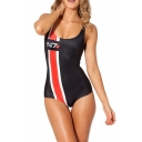 Scoop Neckline Straps One Piece Swimsuit in Symbol Print