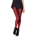 Black and Red Vertical Stripe Full Length Leggings