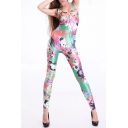 Colorful Digital Print Trendy Sleeveless Scoop Neck Jumpsuits