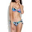 Patchwork Pattern Printed V-wire Bandeau Bikini Set