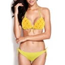 Yellow 3D Floral Tie Front Triangle Bikini Set