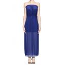 Embellished Strapless Sleeveless Gathered Waist Maxi Dress