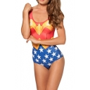 Wonder Woman Scoop Neck One Piece Swimsuit