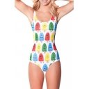 Cute Ice Lolly Expressions Print One Piece Swimsuit