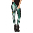 Green and White Vertical Stripe Elastic Leggings