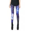 Blue Starry Sky Print Skinny Elastic Leggings