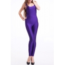 Plain Bright Purple Sleeveless Scoop Neck Jumpsuits