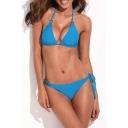 Blue Ring Detail Bikini Top with Tie Side Bikini Bottom