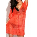 Bright Orange Drawstring Elastic Eyelet Cover Up