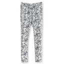 Mono Floral Print Drawstring Waist Zip Pocket Pants