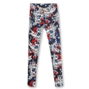 Retro Floral Print Zip Fly Skinny Pants