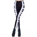 Black and White Keyboard Print Elastic Leggings