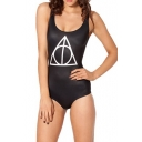 Black One Piece Swimsuit in Geometrical Print