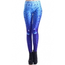 Skinny Blue Water Drop Print Elastic Leggings