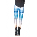 Long Length Elastic Leggings with Sky-sea-beach View Print
