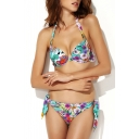Colorful Floral Print Tie Back Bikini Set