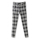 Casual Free Wild Style Plaid Skintight Elastic Pant