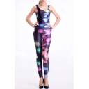 Digital Print Polyester Sleeveless Scoop Neck Concise Jumpsuits
